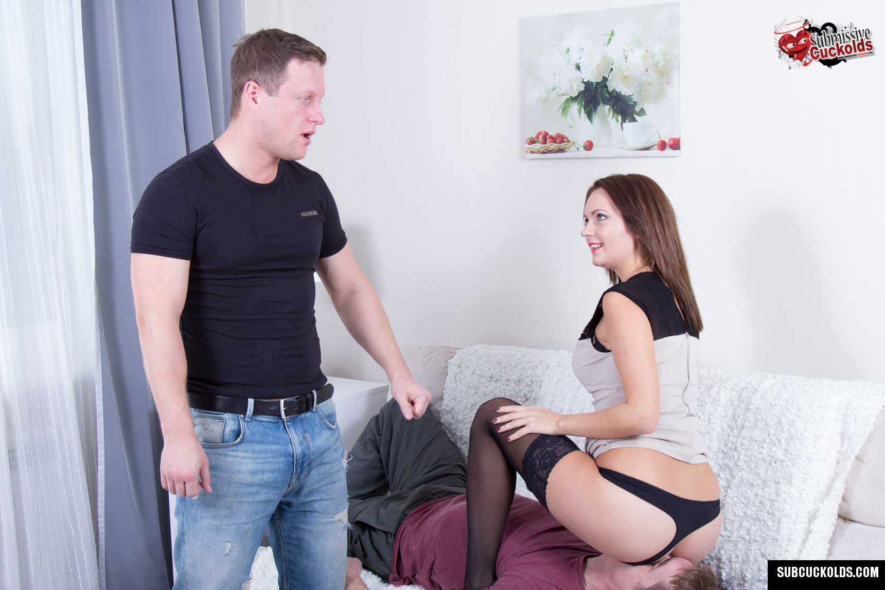 Cuckold hubby has to lick off wife's asshole after her lover fucks it hard