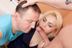 Blonde cuckoldress swap her lovers cock with her husband from submissive cuckolds