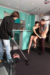 Cuckolded cuck does the chores while his wife is fucking with another man from submissive cuckolds