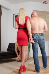 Stud bull fucks this cuckoldress while her hubby sits and watch from submissive cuckolds