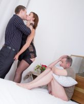 Mature wife and her subby hubby cuckold from submissive cuckolds