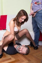 Dominating wife humiliates her cuck hubby from submissive cuckolds