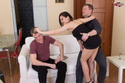 Sexy wife humiliates and laughs at her pathetic cuck husband from submissive cuckolds